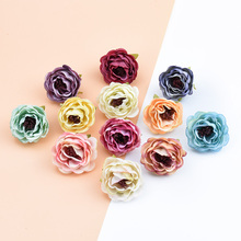 6pcs Silk roses bridal accessories clearance vases for wedding home decor diy scrapbooking flowers gifts box artificial