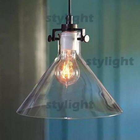 Modern Meridian Transparent Glass lamp Edison Light Bulb Funnel Pendant Lamp CLEAR GLASS FUNNEL FILAMENT PENDANT LIGHTING pendant light modern design blue amber gray glass bulb included 110 220v free shopping pendant lamp