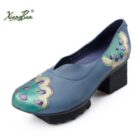 Xiangban Original Design Ladies High Heeled Shoes Blue Painted Embroidery Sequin Sheepskin Shoes Platform K33K15