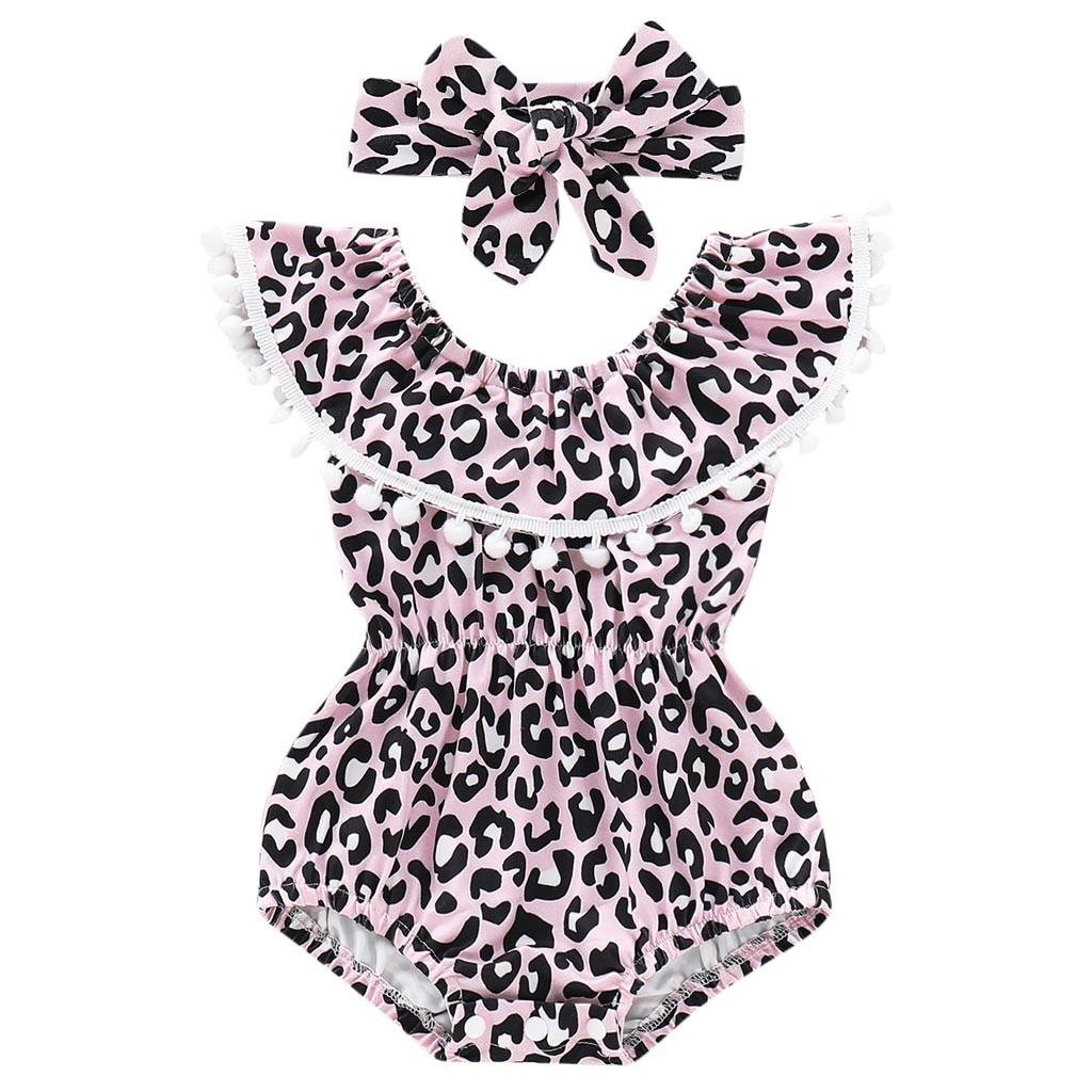 Mutter & Kinder Infant Bademode Baby Mädchen Leopard Rüschen Quaste Spielanzug-einteilige Sommer Bademode Haarband Badeanzug Bade Bikini Babykleidung Mädchen