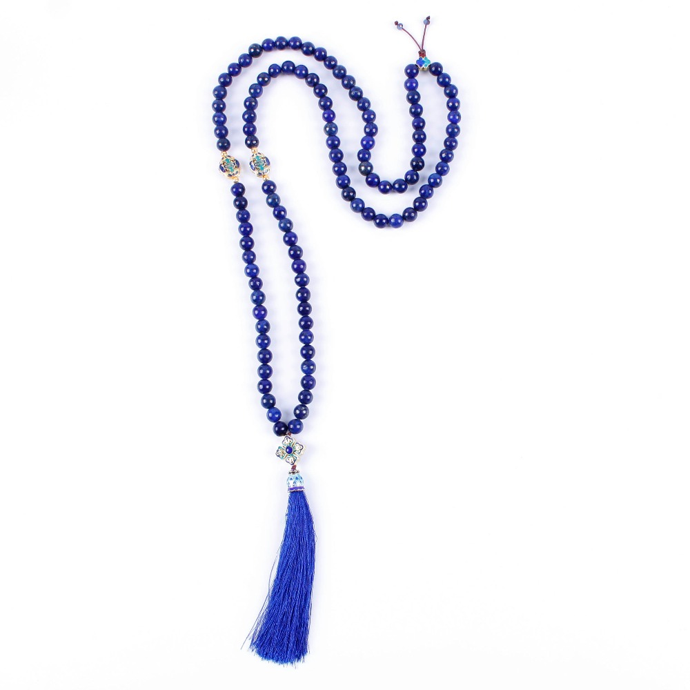 108 lapis lazuli stone Necklace long tassel mala necklace for women yoga Jewelry 8mm bead dandie fashionable necklace with orange acrylic bead elegant weave braid bead necklace jewelry for women