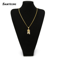 Samyeung Hiphop Stainless Steel Jesus Gold Necklaces For Male Hip Hop Necklace Women Neckless Steampunk Jewellery