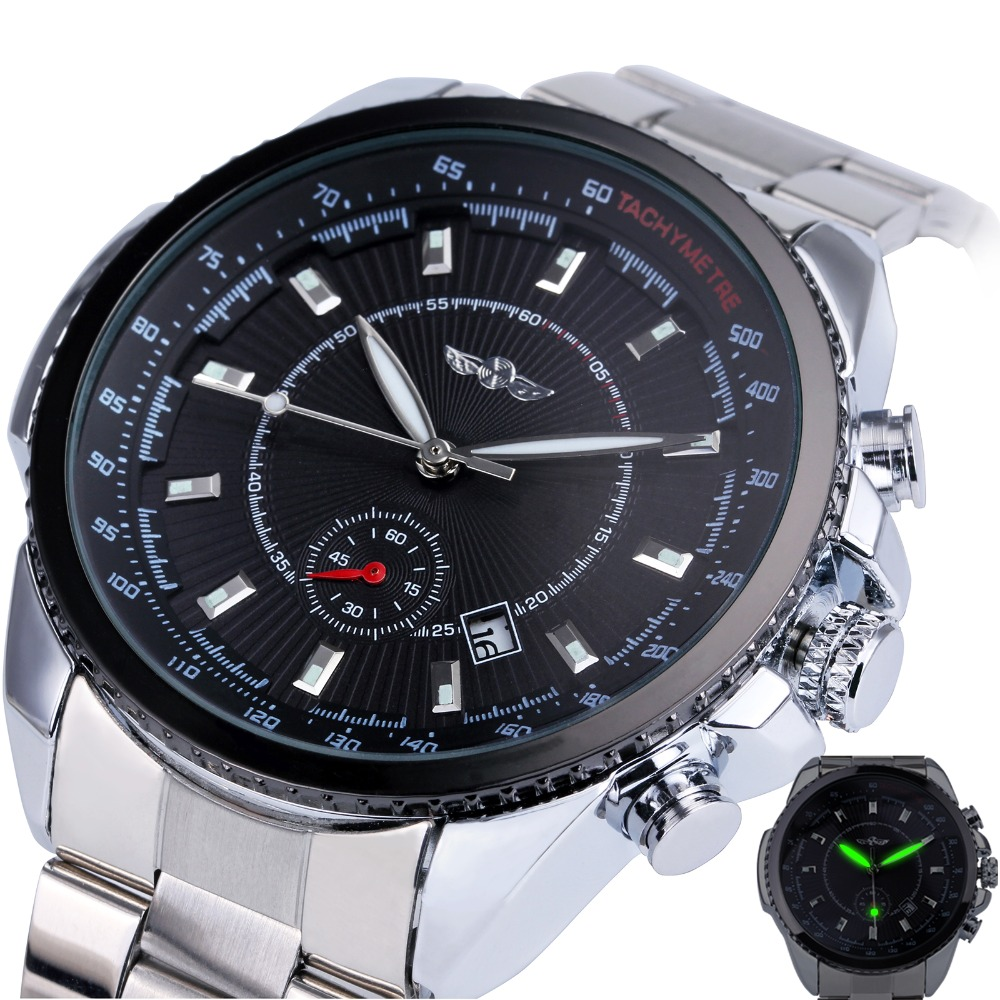 Winner Men s Automatic Mechanical Watch Stainless Steel Strap Date Calendar Sub dial Supersize NEW FASHION
