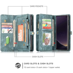 Image 2 - Wallet Case Voor Samsung Galaxy S10 Rits Magnetische Telefoon Case Folio Flip Cover Voor Samsung A51 S20 Plus A50 A70 a80 S9 S8 Note 9