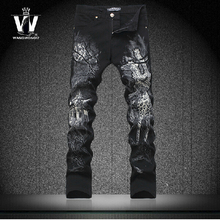 28-36 New Hot sale 100% cotton Painted jeans male 2015 autumn paragraph nightclub 3D flower giraffe print pants men brand jeans