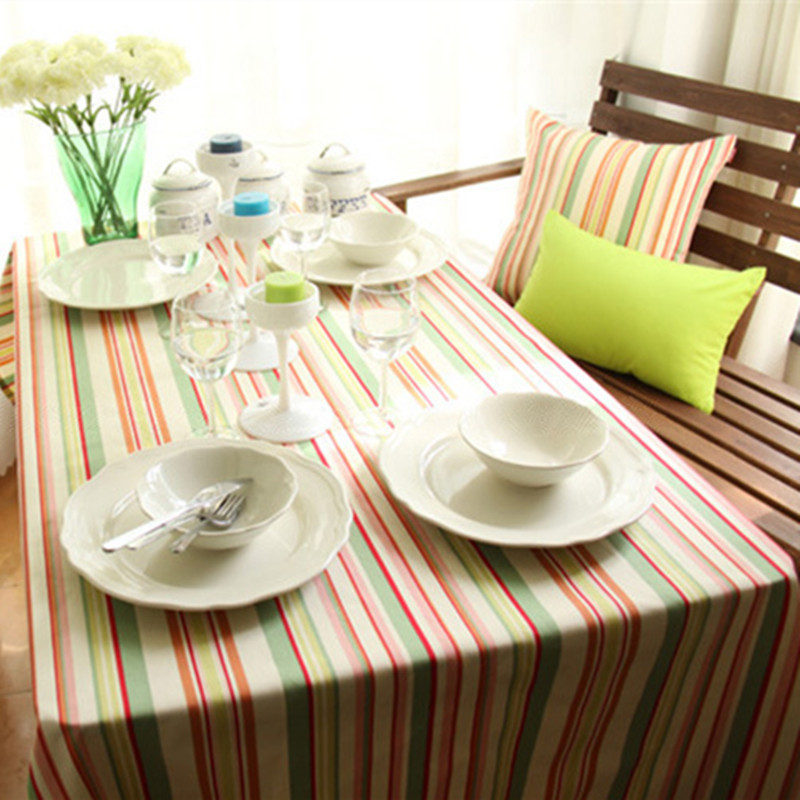 Marvelous Free Shipping European Classic Colored Stripe Tablecloth Rectangular Nice  For Party/Dinner/Picnic Table