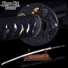 home decor katana The newly designed \ black scabbard Damascus steel forging Sharpe Knife Samurai Figure Ngok