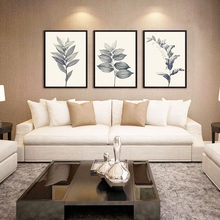 Retro Leaf Pictures Art Prints Poster Wall Picture Canvas Painting White Black Long Leaf Canvas Oil Paint Decor Home no Frame(China)