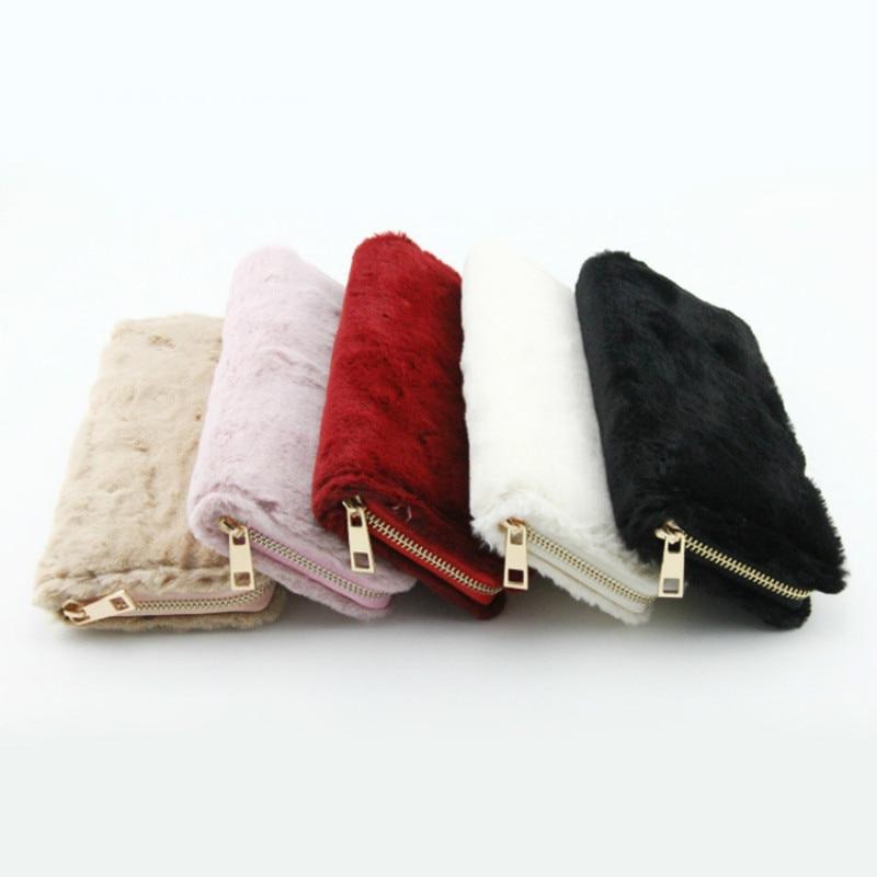Women Cute Furry Cat Leather Wallet Large Capacity Zipper Travel Wristlet Bags Clutch Cellphone Bag