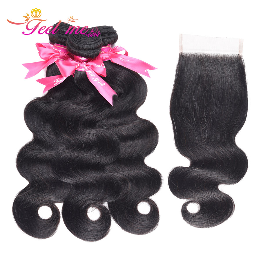 Feel Me Hair Brazilian Body Wave with Closure Free Part Human Hair with Closure 3 Bundles Deals 100% Non-remy Hair
