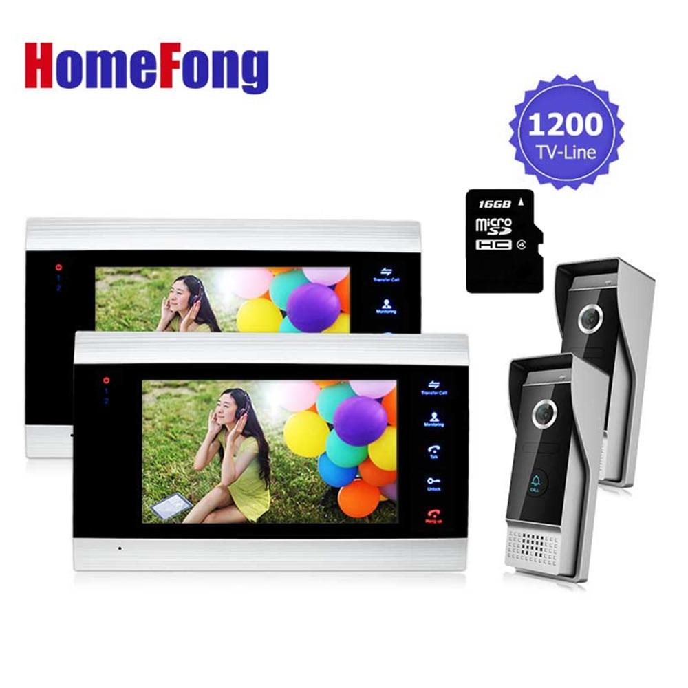 Homefong видео телефон двери запись домофон комплект 2 мониторов 2 дверной звонок Камера домофон 16 ГБ SD карты picture/запись видео