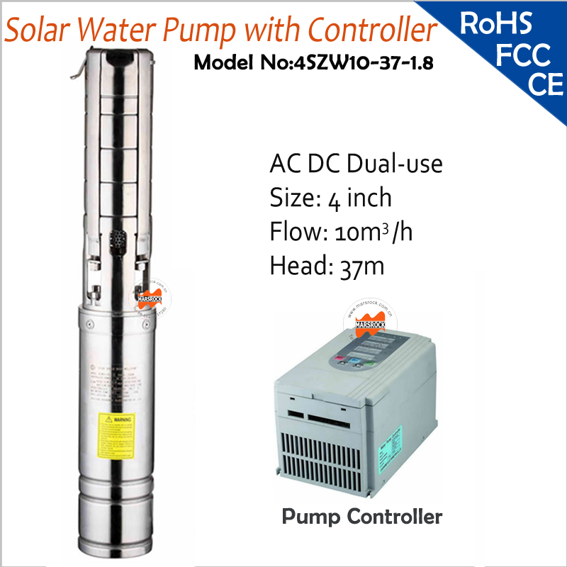 4inch 1800W Output DC AC Dual-Use Brushless high-speed solar water pump with head 37M, flow 10T/H for deep well