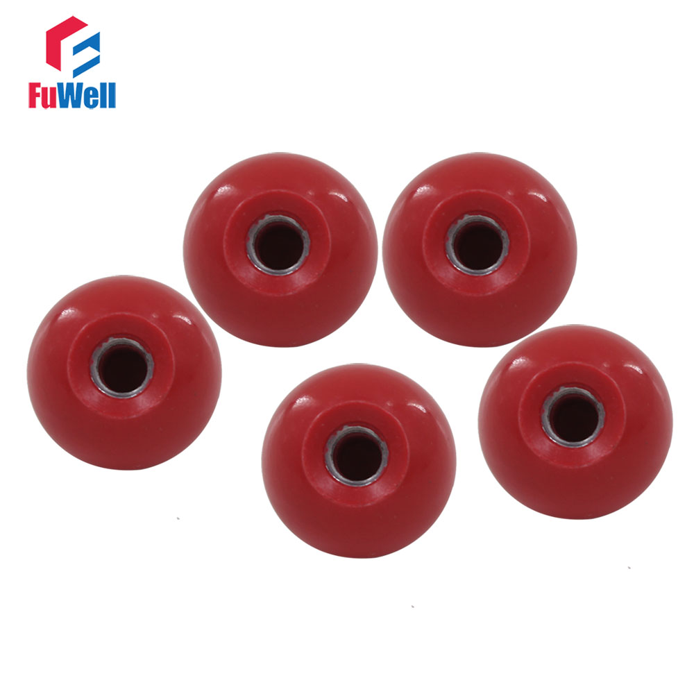 "4 PCS M6*25 1/"" 25mm Dia M6 Bore Red Plastic Solid Ball Lever Knob"