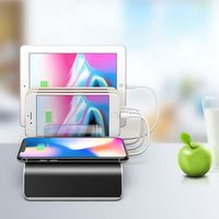 4 Port USB Type C Mobile Phone Tablets Multiple Devices Organizer Desktop Stand Power Adapter Wireless Charger for iPhone Sony