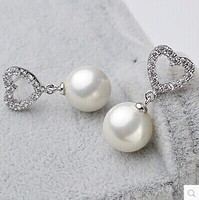 925 silver real natural big Freshwater pearl earring round pearl earrings to light Women Love Earrings