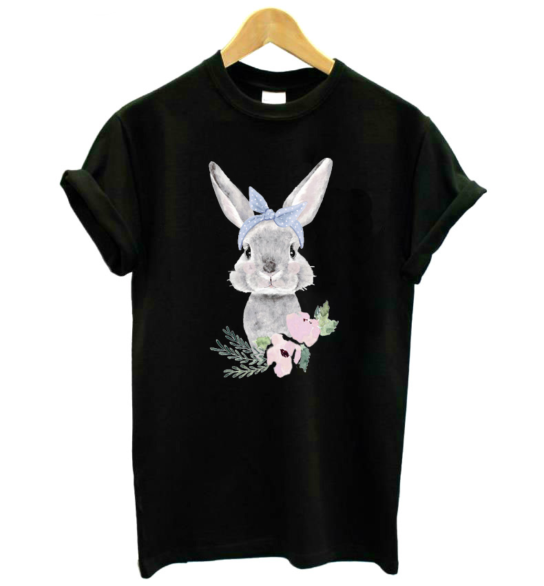 Flower Rabbit Print Women Tshirt Cotton Casual Funny T Shirt For Lady Girl Top Tee Hipster Drop Ship KT-16