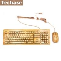2017 New Klavye Bamboo Keyboards Teclado Mouse Combos Klavye Mouse Set Wired Computer Gaming USB Office