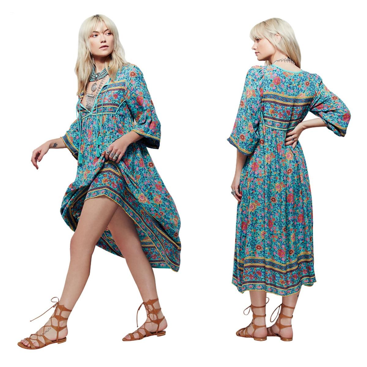 Novel Women\'s Tassel Irregular Printing Dress Blue Floral Long ...