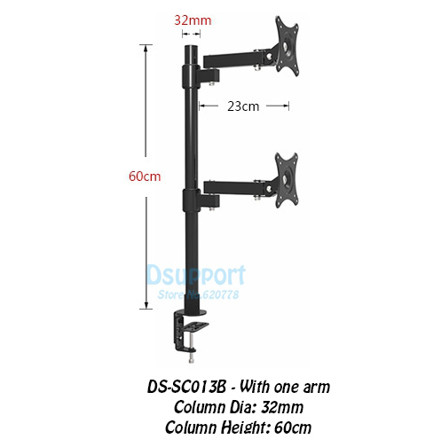 Desktop Clamping 13-27 Dual Screen Monitor Holder Long Arm Monitor Mount Retractable Rotation LCD TV Mount Rack Arm Base SC013