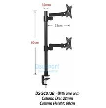 Desktop Clamping 13-27 Dual Screen Monitor Holder Long Arm Mount Retractable Rotation LCD TV Rack Base SC013