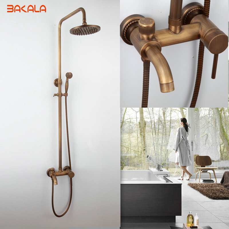 DHL Free Shipping  ! Luxury NEW Antique Brass Rainfall Shower Set Faucet + Tub Mixer Tap + Handheld Shower Wall Mounted flg free shipping bamboo antique brass rainfall bamboo shower faucet set bath tub mixer tap single handle shower wall mounted