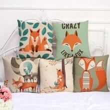 Square 18 Cotton Linen Cartoon Red Fox Car Decorative Throw Cushion Cover Home Decor Sofa Pillow Case