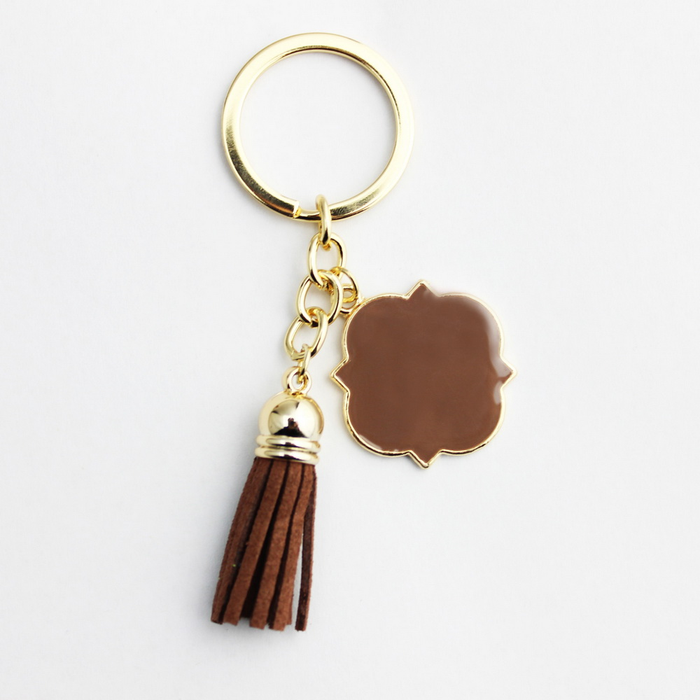 30 * 30 mm personalizované smaltované přířezy Monogrammed Keychain s střapcem Girl Gift Tassel Key Chain Monogram Blanks Keychain Gift Hot