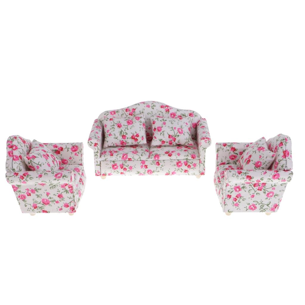 3 Sätze von 1/12 Puppenhaus Miniatur-möbel Blumenmuster Sitz Sofa ...
