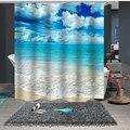 Индивидуальный Душ занавес для ванной комнаты перегородка 1,5x1,8 м 1,8x1,8 м 1,8x2 м морской пляж облако синий