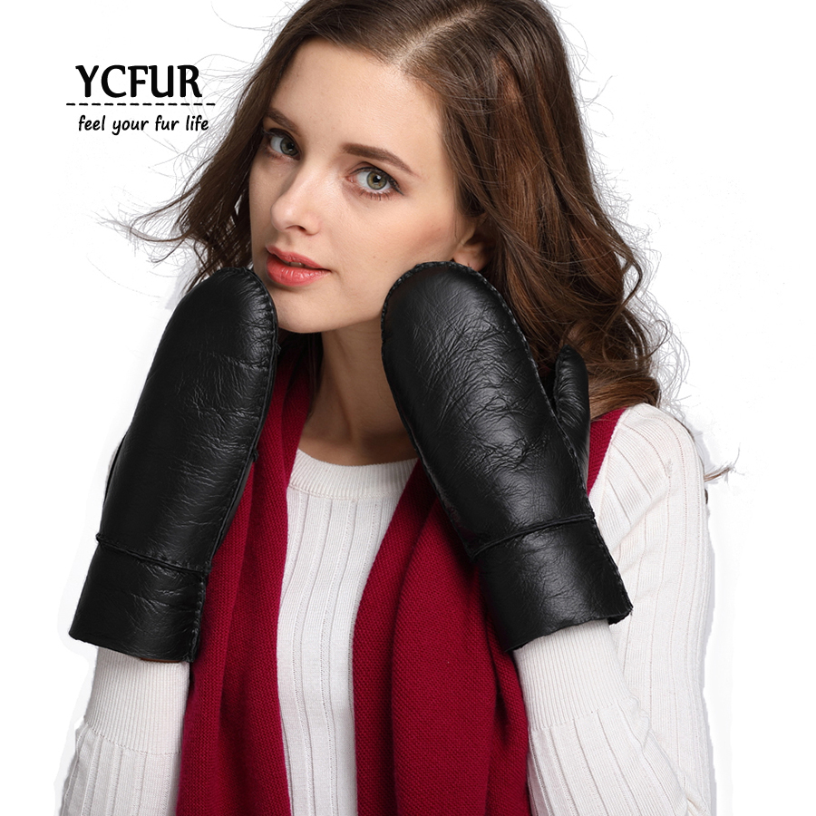 YCFUR Women Winter <font><b>Gloves</b></font> Mittens Warm Heavy Fur Lining Genuine Sheepskin Fur <font><b>Glove</b></font> For Female Lady Warm <font><b>Glove</b></font> For Girls