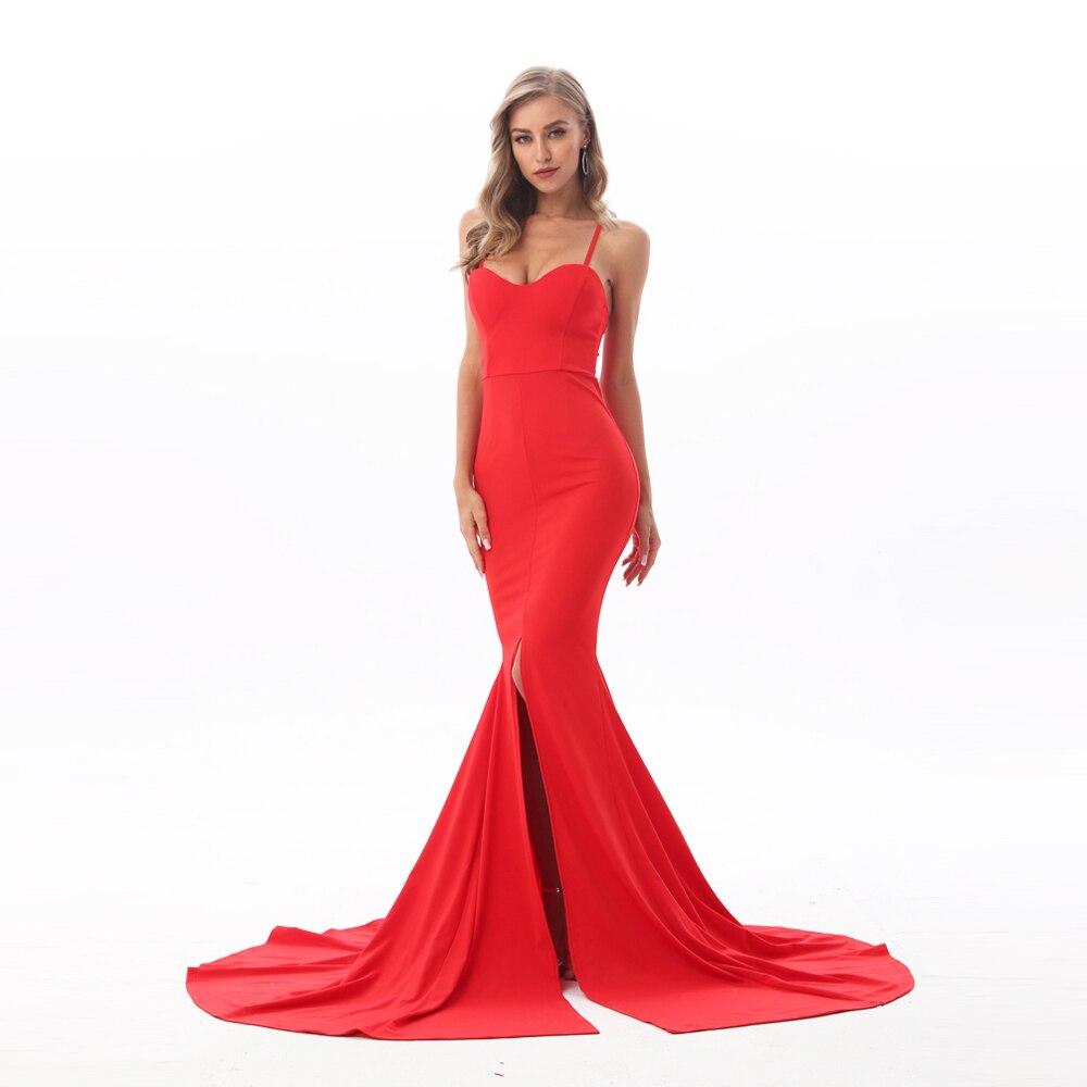 Strapless Split Front  Mermaid Sleeveless Elegant Dress 23