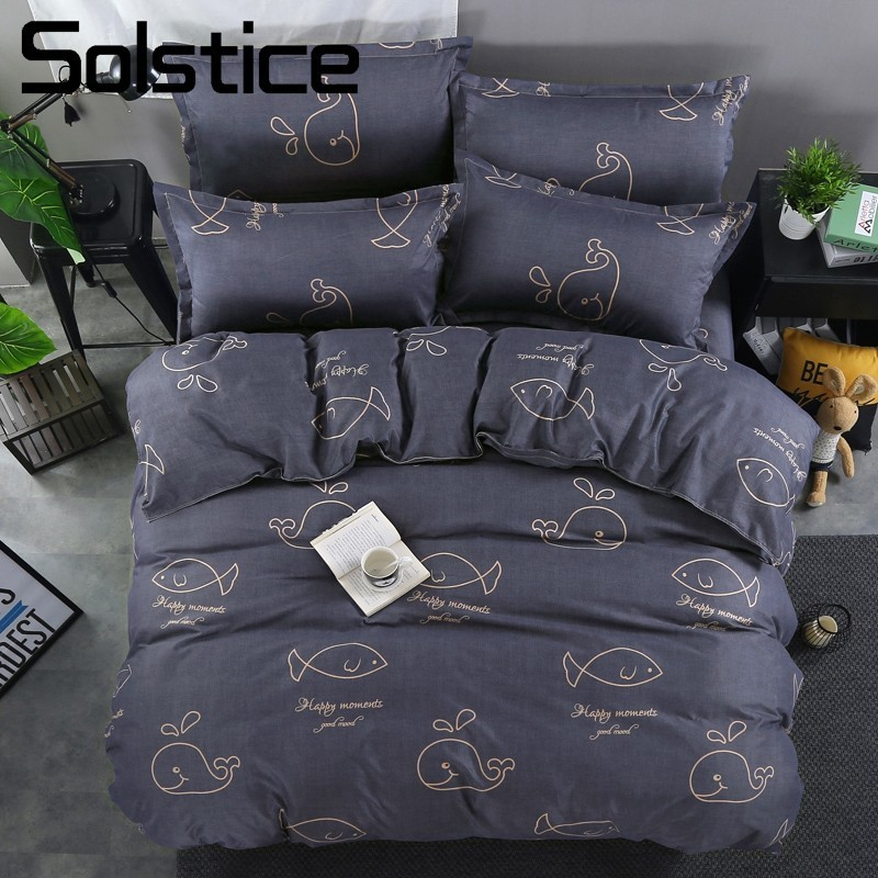 Solstice Home Textile Kid Teen Boy Girls Bedding Set Whale Sea Duvet Cover Pillowcase Bed Sheet Dark Blue Double Twin Linen 3/4