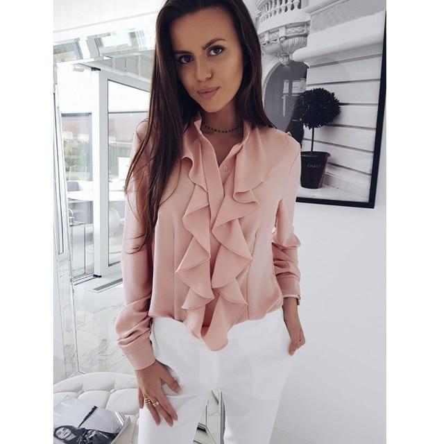 dcc03c3a489 2018 Elegant Women Office Blouse Shirts Ladies Ruffle Long-Sleeve Wave  Collar Spring Autumn Casual Female Shirt Tops 2XL Blusas