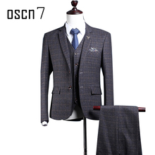 OSCN7 Dark Grey Plaid Suit Men Slim Fit Custom Made Business Formal Suits for Wedding 2017 Latest Coat and Pants 3pcs Terno