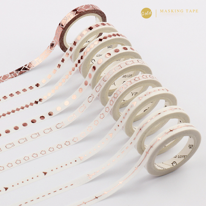 5mm Kawaii Rose/Laser Gold Slim Series Masking Washi Tape Creative Diy Decorative Adhesive Tape Stickers Scrapbooking Stationery