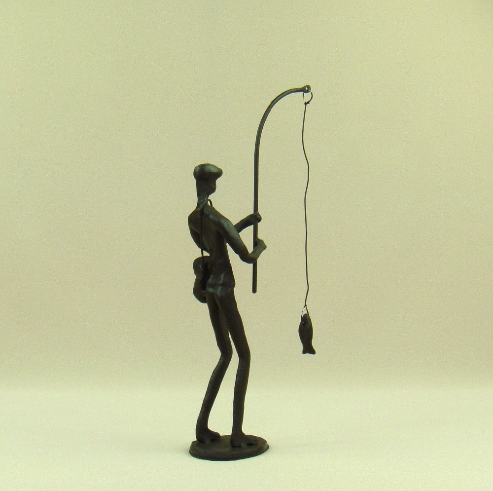 Abstract Metal Fishing Man Sculpture Handmade Cast Iron Angling ...