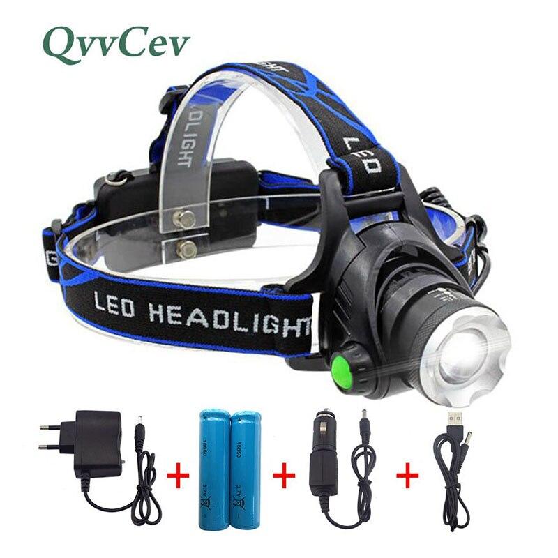 Wasserdichte Scheinwerfer XM-L Q5 T6 L2 LED Scheinwerfer Zoomable Stirnlampe Taschenlampe Led-taschenlampen-fackel für Jagd Angeln Radfahren