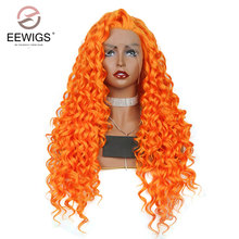 EEWIGS Womens Wigs Synthetic Hair Heat Resistant Synthetic Lace Front Wigs Curly Wig Long Orange Wig 24inch