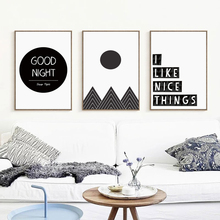 Bianche Wall I love Simple Greetings Black and White Canvas Painting Art Print Poster Picture Mural Home Bedroom Decoration
