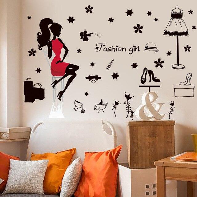 Di bellezza Ragazza Collage Wall Stickers per Bambini Camera Da ...