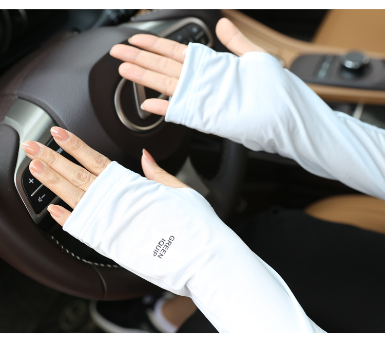 Ice Cool Sunscreen Arm Sleeve Half Finger Gloves Fingerless Arm Warmers Sun Protection Driving Mittens Cuff Anti-UV Long Gloves (13)