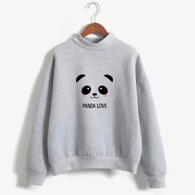 2018 Hoodies Spring Autumn Kawaii Panda Printed Harajuku Blackpink Sweatshirt Women Korean Hoodies Moletom Feminino