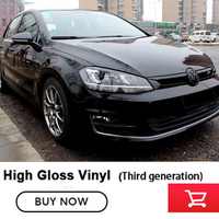 Glossy Self Adhesive High Gloss Black Vinyl Car Full Body Wrap Foil Premium Wraps Third generation Refusing low quality
