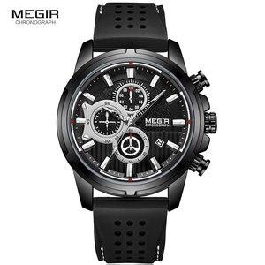 Image 5 - MEGIR wojskowe zegarki kwarcowe mężczyźni Top marka luksusowe Chronograph Sport zegarek Relogios Masculino silikonowy pasek zegarek na rękę człowiek 2101 czarny