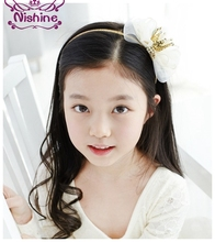 Nishine Girls Felt Crown Headband Hair Bow Lace Elastic Bow Headwear Children Hair Accessories Party Photography Props