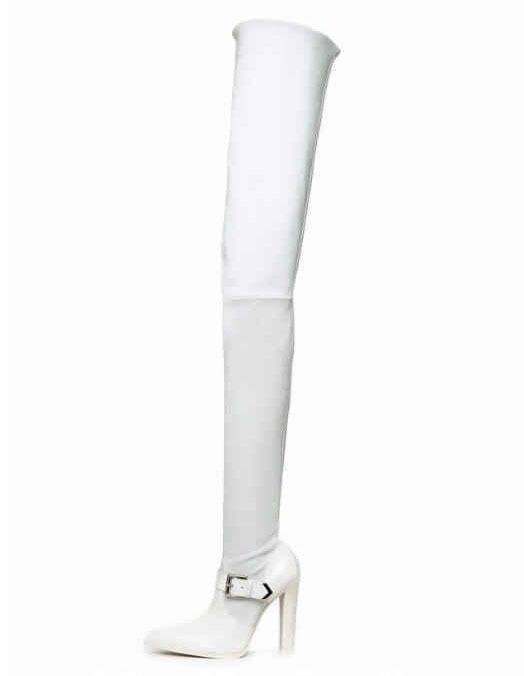 Chuassure female boots super high chunky heels pointed toe over the knee buckle decoration women thigh high dress white bootsChuassure female boots super high chunky heels pointed toe over the knee buckle decoration women thigh high dress white boots