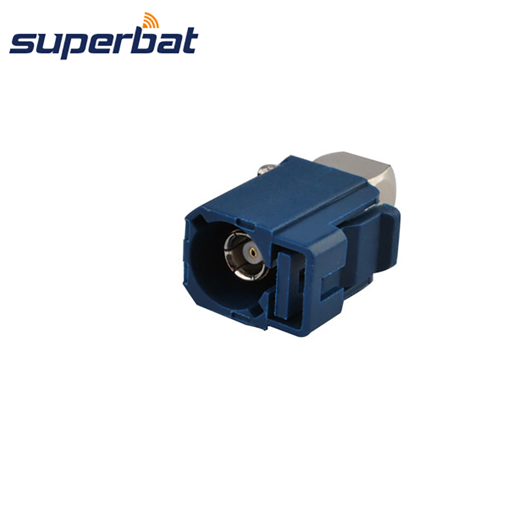 Superbat Fakra C Blue Female Jack Crimp RF Connector RA For GPS Telematics Or Navigation MFD2 RNS2 RNS-E For RG316 RG174 LMR100