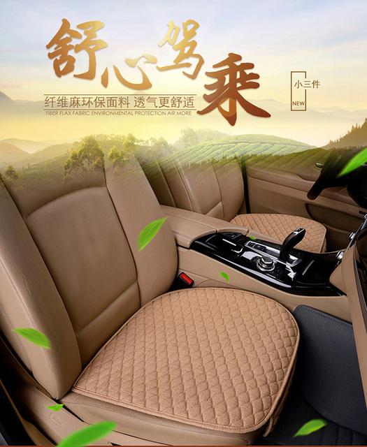 Pościel tkanina Seat okładka cztery pory roku przednie tylne poduszki Flax oddychająca Protector mat pad Auto akcesoria uniwersalny rozmiar tanie i dobre opinie Pokrowce na siedzenia obsługuje 139cm 50cm Pokrowiec na fotelik samochodowy z lnem Bawełna Funkcja podstawowa przechowywanie Tidying
