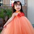 Довольно оранжевый цветок ну вечеринку платье-совершенных цветочница платье для рождения реквизит участниц девушки ну вечеринку пачка PT07
