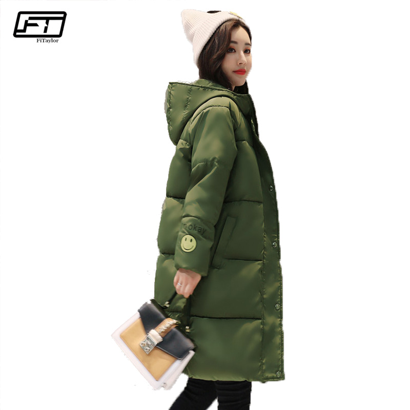 Fitaylor Hooded Thick Winter Jacket Women 2017 Loose Long Parka Mujer Warm Pink Cotton Overcoats Black Pedded Coat Female hijklnl women casual letter printed hooded long jacket 2017 winter thick coats female loose overcoat cotton parka mujer na340